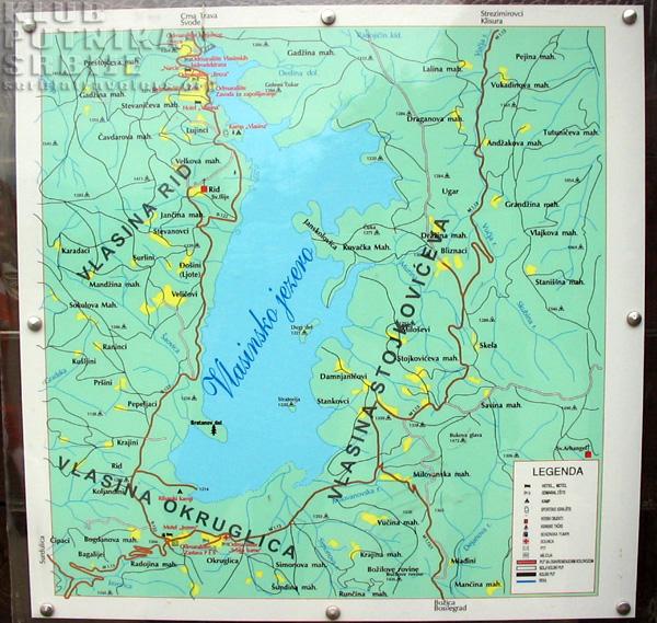 mapa jezera srbije Vlasinsko jezero mapa jezera srbije