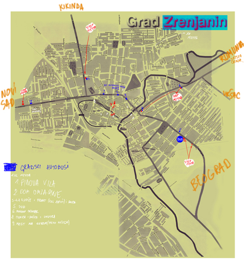 mapa zrenjanina, map of zrenjanin